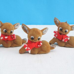 Vintage Flock Christmas Fawns Trio Red Scarf Decorations Ornaments