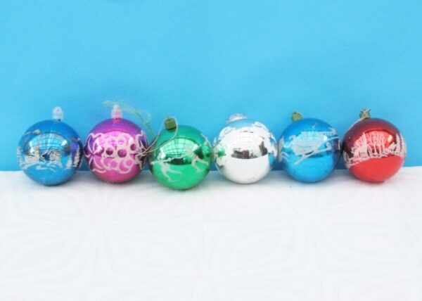 Vintage Frosted Christmas Baubles Multicoloured Plastic x6 70s 80s