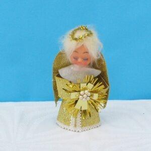 Vintage Gold Christmas Tree Mini Fairy Angel Topper Dolls Head 70s 80s