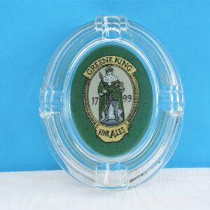 Vintage Greene King Pub Ashtray Pressed Glass 70s 80s