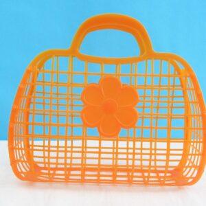 Vintage Small Orange Jelly Bag Basket 1980s