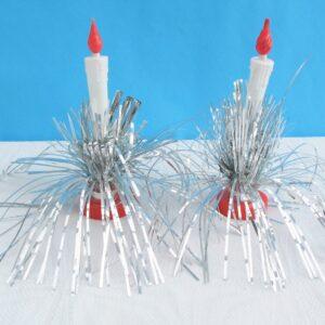 Vintage Kitsch Christmas Candles Pair Plastic Foil Silver Lame Table Decoration