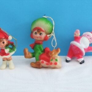 Vintage Kitsch Christmas Decorations 3 Plastic Hanging Ornaments 60s 70s Hong Kong