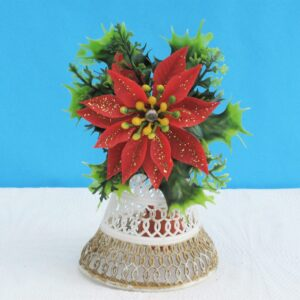 Vintage Kitsch Christmas Bell Ornament Large Plastic Poinsettia Holly 70s 80s