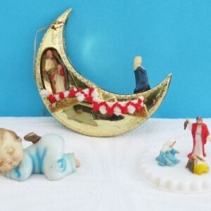 Vintage Kitsch Nativity Themed Christmas Decorations Plastic Hong Kong x3