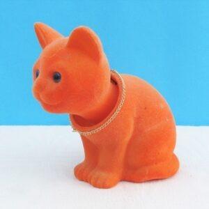 Vintage Nodding Cat Orange Flock