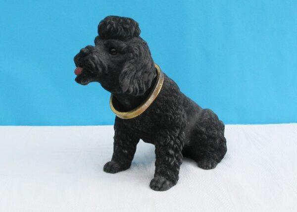 Vintage Kitsch Nodding Dog Ornament Black Poodle Flock Mid Century 1960s
