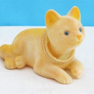 Vintage Kitsch Nodding Cat Ornament Yellow Flock 1960s