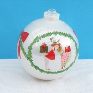 Vintage Oversized White Christmas Bauble Plastic Sweethearts Holly 70s 80s