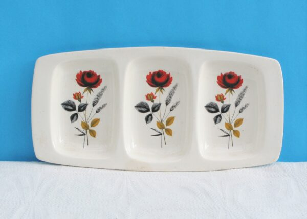 Vintage Palissy Carmen Snack Divided Dish Red Rose 50s 60s