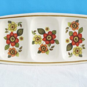 Vintage Palissy Snack Divided Dish Clovelly Red Flower Power 60s