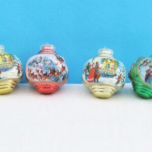 Vintage Plastic Christmas Tree Baubles x4 Victorian Snow Scenes