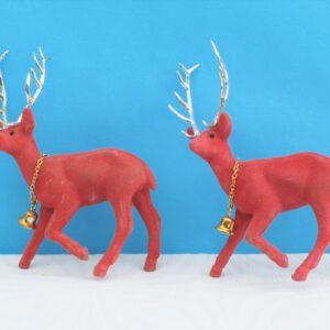 Vintage Red Flock Reindeer x2 Kitsch Christmas Ornaments 60s 70s