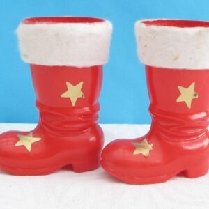 Vintage Plastic Red Santa Boots x2 Kitsch Christmas Ornaments 70s 80s