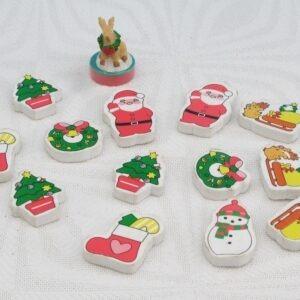 Vintage Retro Christmas Erasers Stamp Stationery Set Job Lot