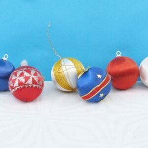 Vintage Silk Covered Christmas Baubles x6 Red White Blue Theme 70s 80s