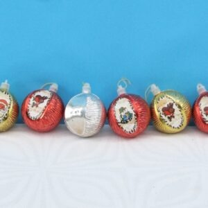 Vintage Textured Metallic Christmas Baubles with Pictures x6 70s 80s
