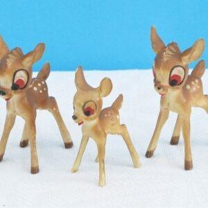 Vintage Collectors Bambi Figures x3 WDP Walt Disney Product 1960s V Rare