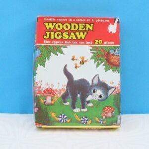 Vintage Wooden Childrens Jigsaw Cute Kitten 20pcs Castille Capers 80s