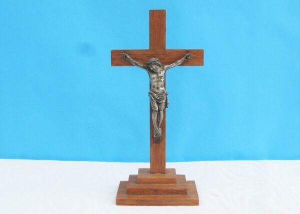 Vintage Wooden Metal Crucifix Jesus Cross Christianity Religious Ornament