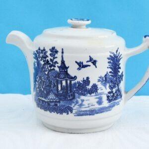 Vintage Blue White Teapot Olde Alton Ware England 1-2 Person