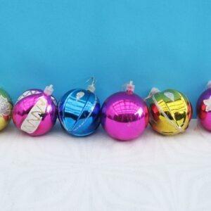 Vintage Christmas Baubles Multicoloured Plastic x6 Mixed Lot 70s 80s