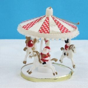 Vintage Christmas Merry Go Round Carousel Hanging Ornament Hong Kong