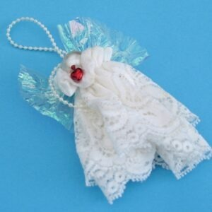 Vintage Handmade Christmas Fairy Angel Hanging Ornament White Lace & Pearl