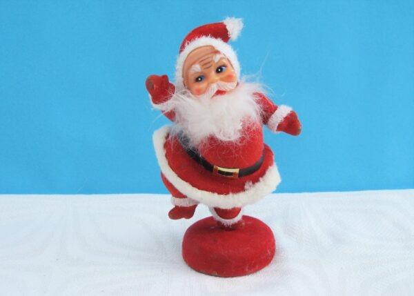 Vintage Kitsch Flock Santa Christmas Ornament Medium Sized 60s 70s