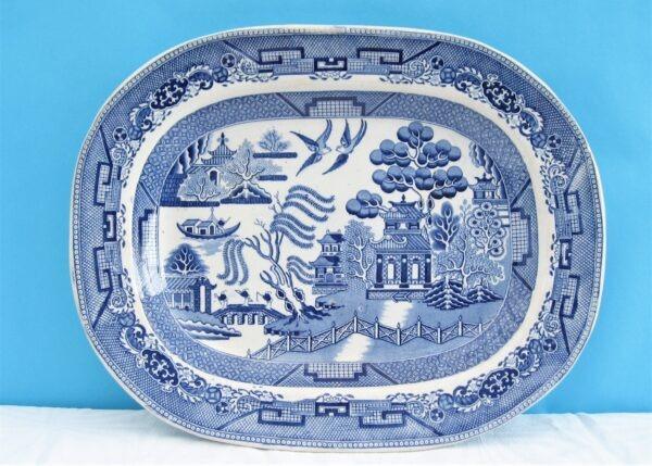Vintage Large Meat Platter Willow Pattern Blue White Transferware