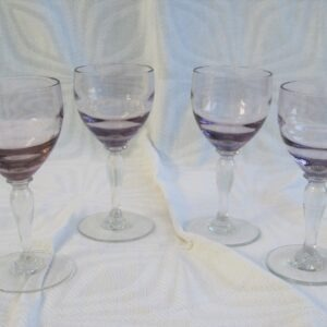 Vintage Lilac Port Sherry Glasses Clear Footed Set of 4