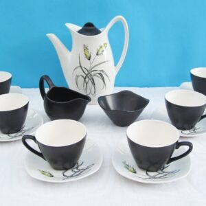 Vintage Midwinter Bali Hai Coffee Set Black White 1950s Tiki