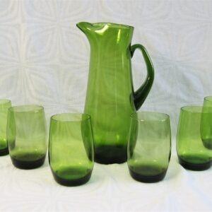 Vintage Murano Green Glass Jug Pitcher Set 6 Glasses Hand Blown 60s 70s