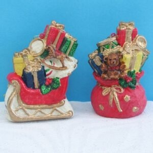 Vintage Pair Christmas Tree Ornaments Gifts Sack Sleigh Plastic 90s Decorations
