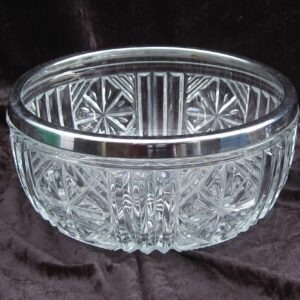 Vintage Heavy Pressed Glass Fruit or Trifle Bowl with Metal Rim