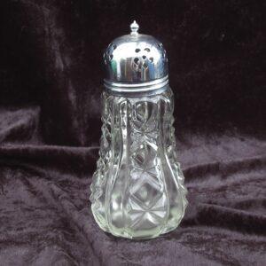 Vintage Pressed Glass Sugar Shaker Sifter Metal Top
