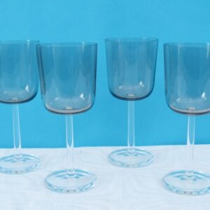 Vintage Smoked Wine Glasses Brown Clear Stem x4 Luminarc 70s 80s
