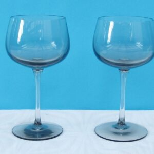 Vintage Fine Smoked Wine Glasses Pair Grey Possibly Danish 70s 80s