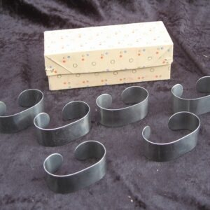 Vintage Stainless Steel Napkin Rings x 6 Boxed 60s 70s