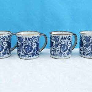 Vintage Stoneware Mugs x4 Blue White Scandi Folk Floral Design