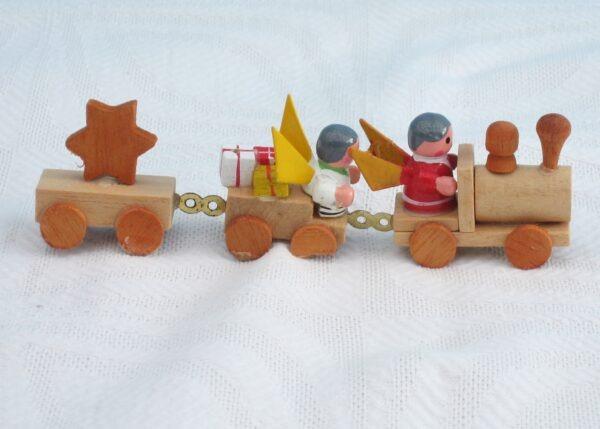 Vintage Wooden Christmas Train Ornament Cake Decoration Angels Presents