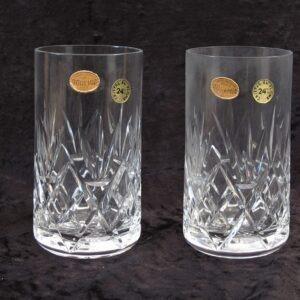 Vintage Bohemian Crystal Glasses Tumblers x2 Pair