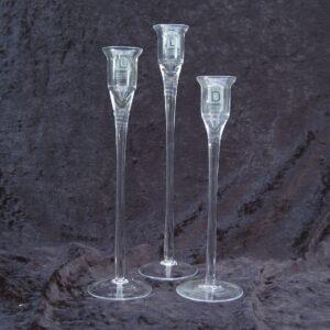 Vintage Broste Glass Candlesticks Candle Holders Trio Denmark