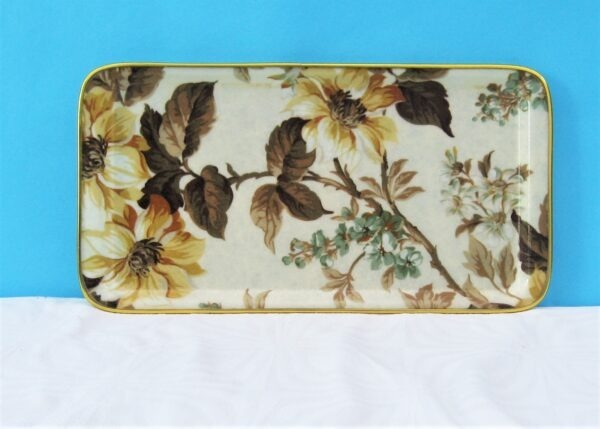 Vintage Fibreglass Serving Tray Brown Floral Rectangular 60s 70s