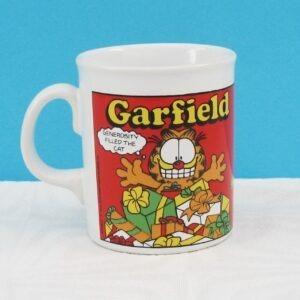 Vintage Garfield Christmas Mug 1980s - Generosity Filled The Cat