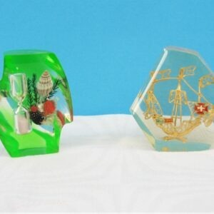 Vintage Lucite Ornaments Mid Century Choose from Egg Timer or Gold Ship