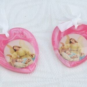 Vintage Religious Cot Medal Pink Christening Baby Gift Plastic - 2 Available