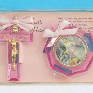 Vintage Religious Cradle Medallion Christening Baby Gift Set Pink Plastic