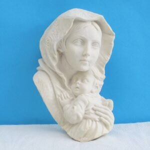 Vintage Religious 3D Wall Plaque Madonna Child White Plaster Resin Italy