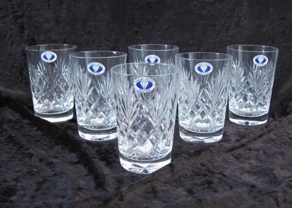 Vintage Tutbury Lead Crystal Tumblers Glasses x6 Boxed 80s